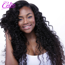Celie Hair Deep Wave Brazilian Hair Bundles Natural Black Color Can Be Dyed 100% Remy Human Hair Weave No Tangle No Shedding(China)