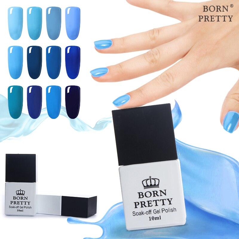 BORN PRETTY 12 Bottles 10ml Nail UV Gel Blue Series Gel Polish Soak Off UV Polish Varnish 12 Colors Manicure Nail Art Polish<br>
