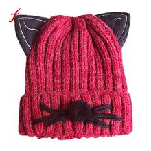 Feitong Quality knitted hats Female Hot Sale Cute Cats Comfortable Winter Keep Warm Crochet Ski Hat Braided Cap Casual Caps(China)