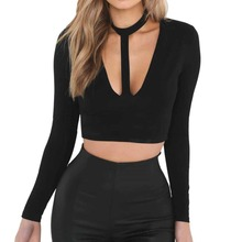 Buy Women Tops Black Bodycon t shirt Sexy Bandage Halter Deep V Neck Long Sleeve Short t-shirt 2018 Summer Slim Cropped tee female