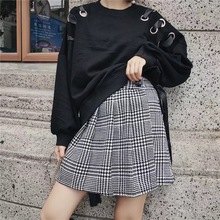 Z0927Z1 Europe 2017 new fall wind Institute Houndstooth pleated skirt 8345(China)