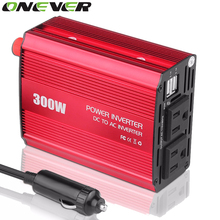 12V DC to AC 110V Car Auto Power Pure Sine Inverter Converter Adapter Adaptor 300W USB Car Charger 600W Peak Power US Plug(China)