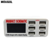 2017 Special Offer New Mougol 6 Port Charger 6a With Lcd Digital Display Fast Smart Charging Station For Phone Tablet Pc(China)