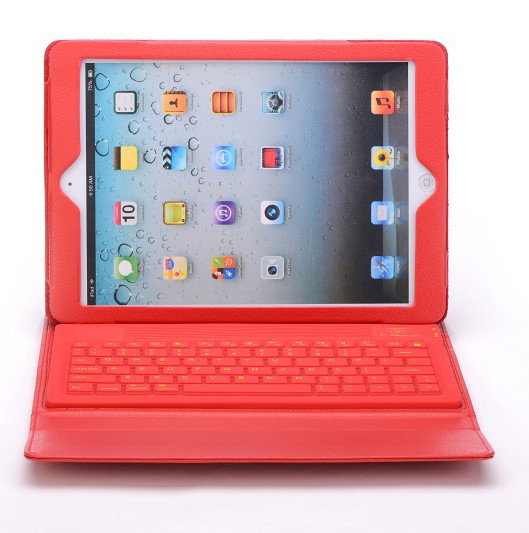 1pcs/lot Bluetooth Keyboard Wireless Silicone Leather Cover Case For Apple iPad 5 for iPad Air + LCD Protector Film Screen<br><br>Aliexpress