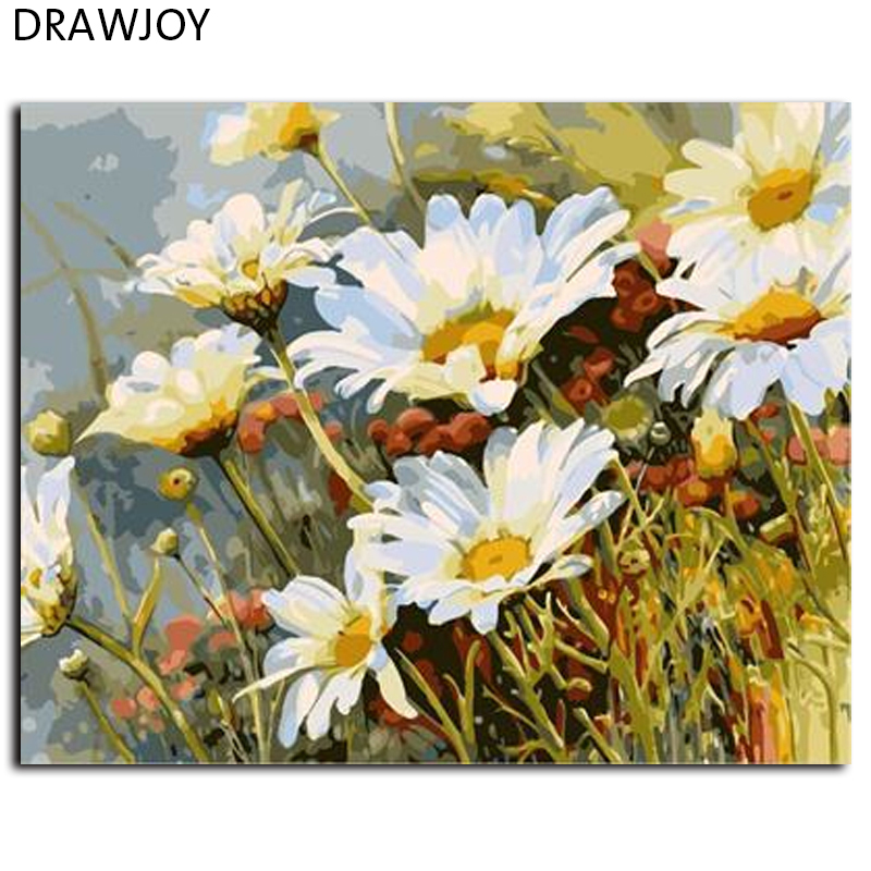 DRAWJOY Flower Oil Painting Frameless Picture Painting By Numbers Wall Art DIY Canvas Painting Home Decor For Living Room GX7077(China (Mainland))