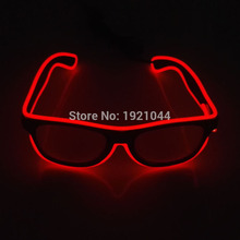 Hot sales EL Glasses EL Wire Fashion Neon LED Light Up Shutter Shaped Glasses Rave Festival Party Decorative Sunglasses(China)
