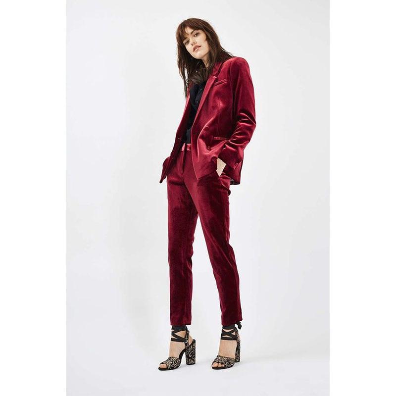12 NEW 2017 Burgundy Velvet ladies office uniform pant suits for women business suits 2 piece set women tuxedo designs Custom