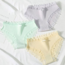 Buy Women's cotton Macaron color lace panties briefs string 2019 NEW Underwear kawaii Sexy girls candy underpants women knickers