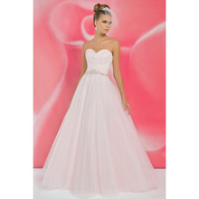 2016 Pink Wedding Dresses Sweetheart Ruched Belt Beaded Sequins Tulle Ruffles Elegant Bridal Dresses Backless Fashion