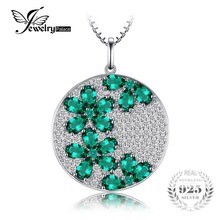 JewelryPalace Flower 3.54ct Created Emerald Pendant 925 Sterling Silver Jewelry Women Fashion Accessories Not Include a Chain(China)