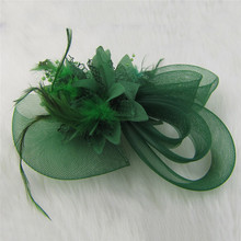 Women Chic Fascinator Hat Cocktail Wedding Party Church Headpiece Fashion Headwear Fancy Feather Hair Accessories 2016 005(China)