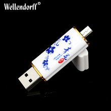 Hotsale Porcelain otg Usb 2.0 High speed Usb 4/8/16/32/64gb Usb Flash Drive Full Capacity Pendrive usb memory stick gift(China)