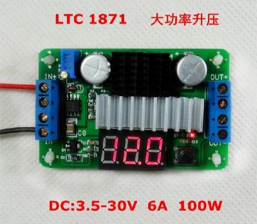 LTC1871 DC-DC Boost Converter Adjustable Step-Up High Power Supply Module LED Voltage Meter/Button Switch<br><br>Aliexpress