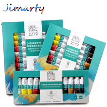 10ML 24colors/set WINSOR & NEWTON Acrylic Paints set Hand-painted wall painting textile paint colored Art Supplies AOA020-24