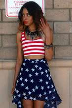 Femme New Skirt Sets Ensemble Europe United States Flag Suit Crop Top  And Skirt Two Piece Set Fashion Sexy Women Set