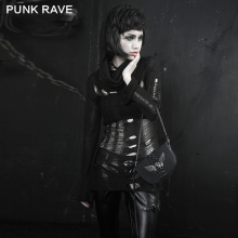 PUNK RAVE Broken Mesh Sweater Fashion Gothic Fuzzy Broken Mesh Sweaters Knitting Patterns Fashion Turtleneck Pullovers