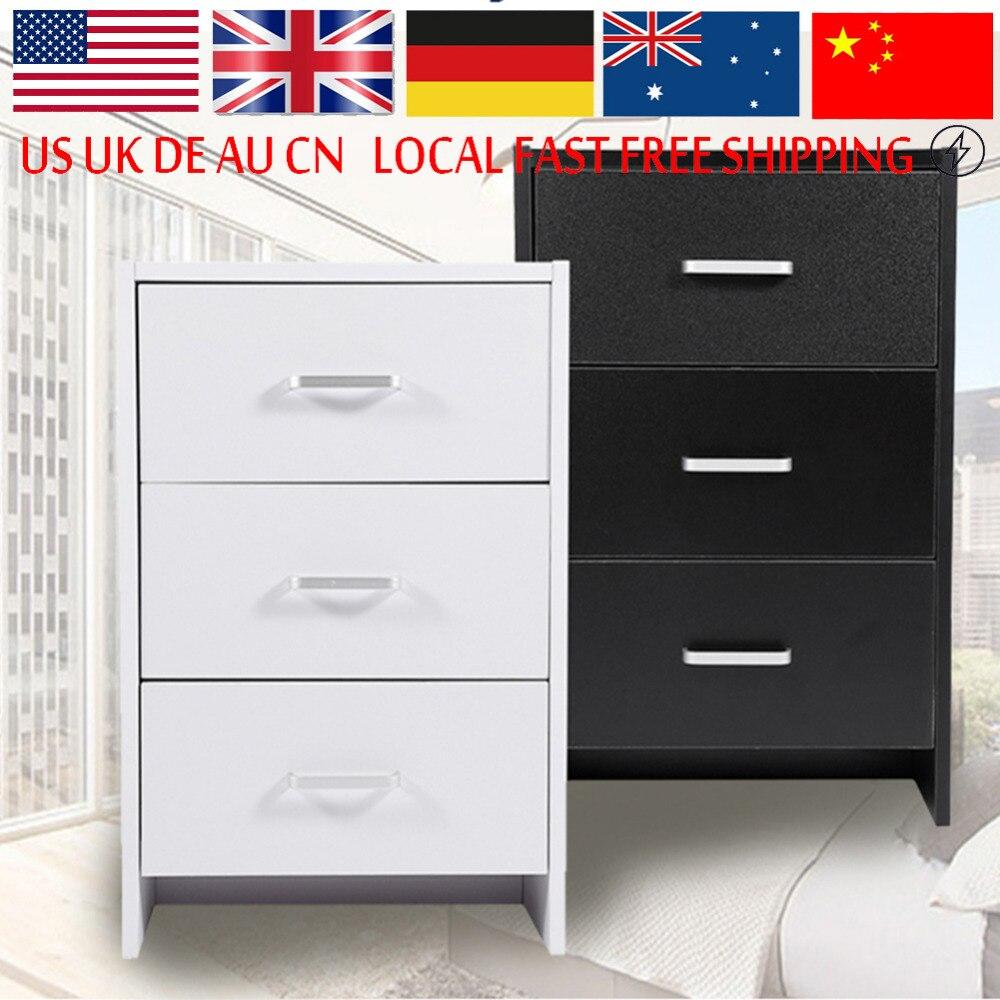 2 3 Drawer Minimalist Modern Bedroom Bedside Cabinet Fashion Black White Nightstand For Home Furniture<br>