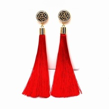 Flower Design Red Tassel Long Earrings For Women 2017 Fashion Jewelry Bijoux Black Blue Colors Fine Gifts
