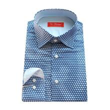 middle blue with printed blue polka dot men's custom tailor made casual Dress Shirt,  bespoke MTM spring/autumn cotton blouse