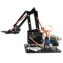 Newest DIY 4DOF Robot Arm 4 Axis Rotating Mechanical Robot Arm With A rduino UNO R3 4PCS Servo For RC Robot Toys Gift