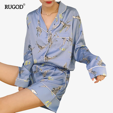 RUGOD Spring Cranes Print Women Sleep Pajamas Sets Turn-Down Collar Long Sleeve Top And Hot Shorts Casual Style Home Clothes
