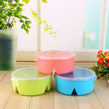 Cute Round Microwave Bento Lunch Grid Box Set Safety PP Picnic Food Container Storage Dinnerware Set Colors Randomly