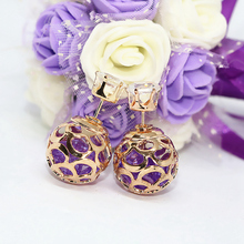 Free shipping 6 style candy color crystal double sides stud earrings girls high quality factory outlet elegant fine jewels B1670