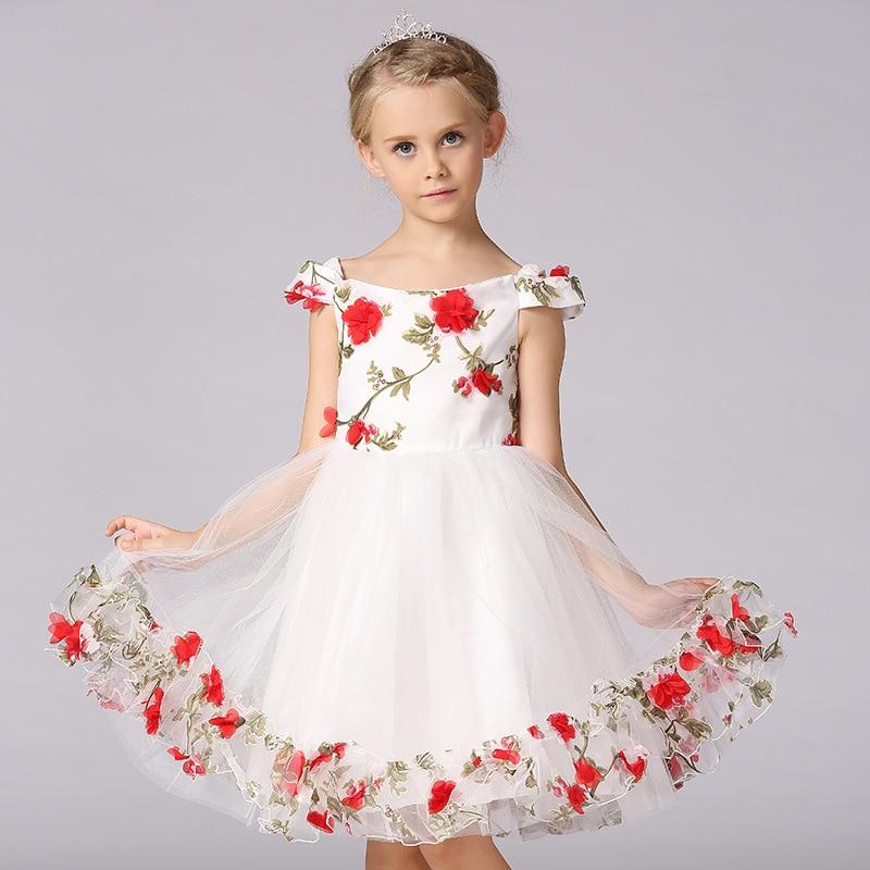 Girls Dress Summer Formal Evening Wedding Party Kids Princess Dresses Girls Clothing Children Flowers Sleeveless Girl Dress<br>