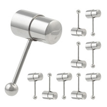 Stainless Steel Vibrating Tongue Rings Barbell Tongue Vibrators Piercing Silver/ Rainbow Color Body Jewelry Piercing