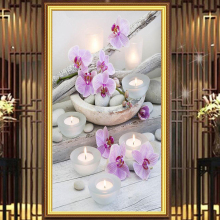 "Full Round Diamond 5D DIY Diamond Painting ""Flower & Candle Stones"" Embroidery Cross Stitch Rhinestone Mosaic Painting Gift"