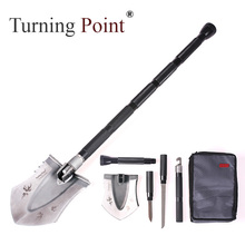 Turning point Outdoor folding camping shovel survival sppittle Hiking Tool Saw Blade snow shovel military With Flashlight