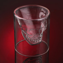Creative 4 sizes Designer Skull Head Shot Glass Fun Doomed Transparent Party Doo glass vaso my bootle copo beer glass wine glass(China)