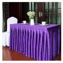Europe Embroidered tablecloths 100% Polyester tablecloths for weddings Banquet Decor Solid table skirt Customized toalha de mesa(China)
