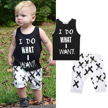 Summer Boys Clothes 2016 New Baby Boy Clothing Set Pattern Letter Toddler Boys Clothing Plaid Kids Clothes Children Clothing Set