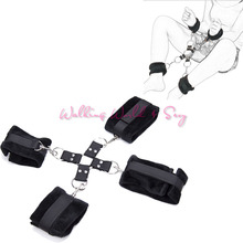 Buy Slave Bondage Restraints Black Nylon Plush Hand Cuffs Ankle Cuffs + Cross Buckle Fetish BDSM Bondage Set Adult Game Sex Products