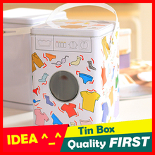 Laundry Box Machine Shaped Detergent Washing Powder Storage Tin Box Pet Dog And Cat Food Container Sundries Organizer