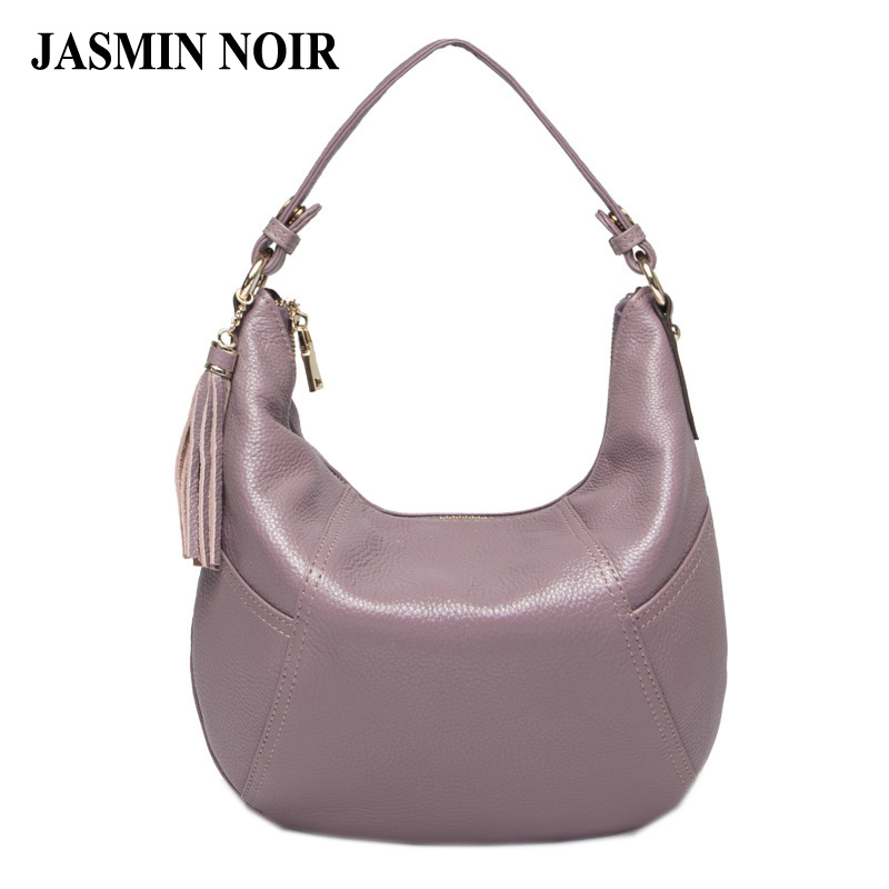 2017 Casual Women Genuine Leather Handbags High Quality Real Cow Leather Single Tassel Hobos Shoulder Bag Female Cross Body Bag<br>