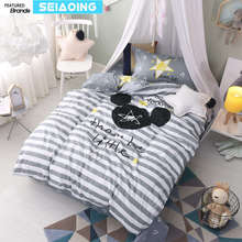 Nordic 100% cotton grey white striped star bed linens twin cartoon mouse bedding set 3d duvet cover boy kids decor sheets single(China)