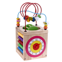 Baby Toys Wooden Around Bead Maze Shape Color Recognition Animal Puzzle Math Clock Flying Chess Gear Cube Kids Educational Toys(China)