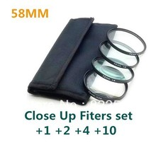4 pcs 58mm 58mm Close up Macro +1 +2 +4 +10 SLR Lens Filter Kit Set For Nikon Canon Camera Free Shipping+Tracking