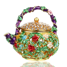 2.3*2.3IN Carve Flower Metal Teapot Shape Trinket Box Retro and Nostalgic Jewelry Ring Storage Case Birthday Gift DIY Crafts(China)