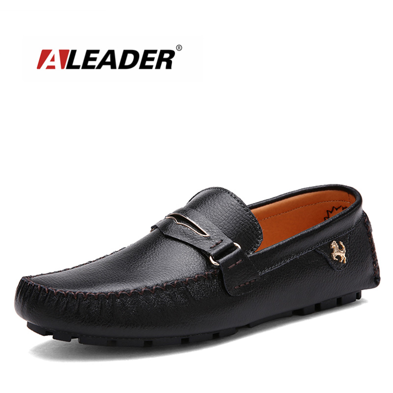 Aleader 2016 Genuine Leather Men Shoes Soft Casual Shoes Men Loafers Breathable Driving Shoes Flats Moccasins Hombre boat shoes<br>
