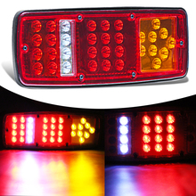 KEYECU Pair 12/24V RV ATV Truck 36LED Red White-Amber Integrated Tail Lights Turn Signal Running Lamp(China)