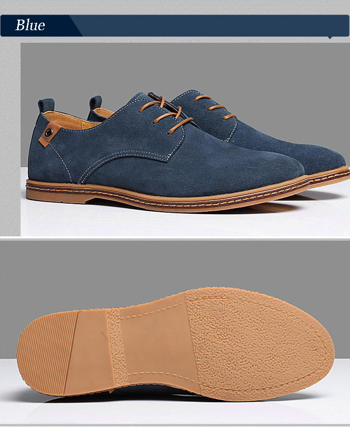 New 17 Fashion Men Shoes Suede Leather Casual Flat Shoes Lace-up Men's Flats for Man Rubber Outsole Driving Shoes Footwear 11