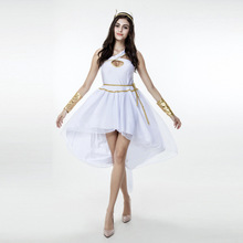 Sexy Greek Goddess Fancy Dress Ladies White Light Fairy Hanging Neck Gown Roman Toga Robe Cosplay Costume
