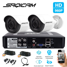 SAQICAM 4CH CCTV Camera System 960P 2PCS 1200TVL IR Outdoor Night Vision Camera CCTV AHD 1080N Security Surveillance DVR Kit