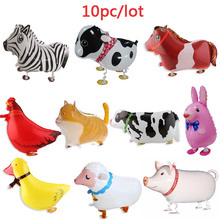 10pcs Walking Farm animals Foil Balloons pig/dog/cat/sheep/dark/cow/horse/chicken/rabbit Christmas Birthday party decoration toy