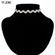 YFJEWE Women Tiny Infinity Wedding Crystal Rhinestone Necklaces Woman Choker Lucky Leaf Silver Gold Long Chain Necklace N369(China)