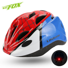 BATFOX Kids Cartoon hero Cycling Helmet Ultralight road bicycle helmet Spider-Man batman bike helmet children MTB Lights helmets(China)