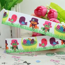 New 7/8'' Free shipping easter bird egg printed grosgrain ribbon hairbow diy party decoration wholesale OEM 22mm P1997